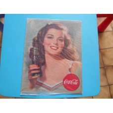 metalen plaat - bord /  metal sign / plaque metal   32 x 40 cm  girl with coca cola