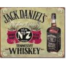 metalen plaat - bord /  metal sign / plaque metal   32 x 40 cm jack daniels yellow
